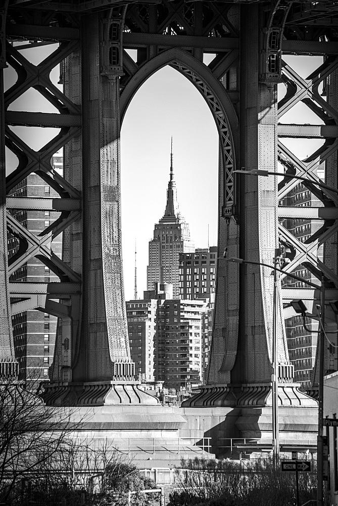 View from Main Street to Manhattan Bridge and Empire State Building, Dumbo, Brooklyn, New York, USA, North America