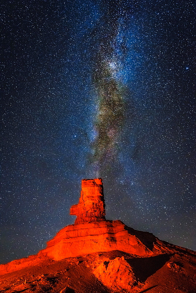 Rock formation at night with starry sky and Milky Way, Khermen Tsav, Umnugobi Province, Mongolia, Asia