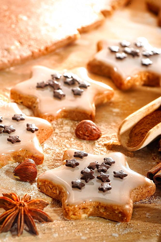 Christmas cookies, cinnamon stars, Germany, Europe
