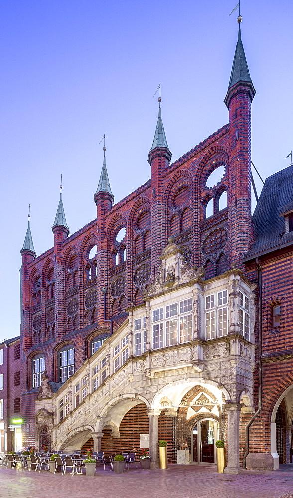 Historical town hall, Neues Gemach, Renaissance staircase, Breite Strasse, Luebeck, Schleswig-Holstein, Germany, Europe