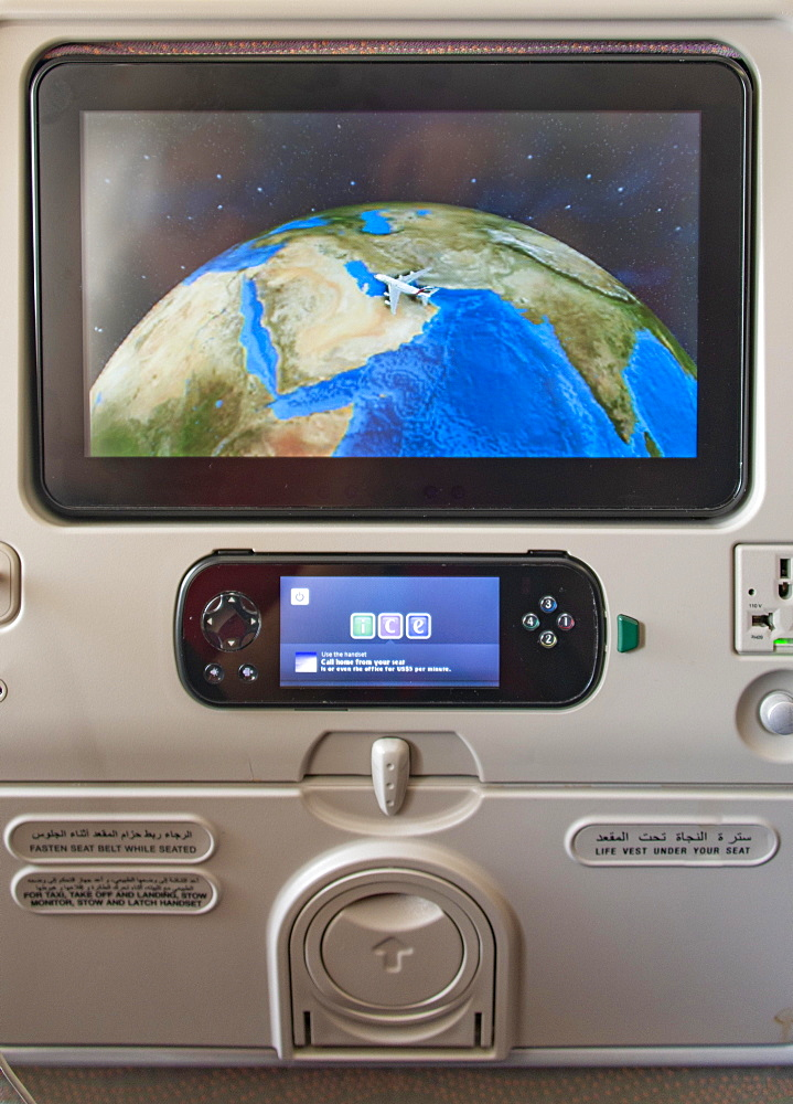 Screen showing the flight position Dubai at seat in aircraft, Emirates airline, interior view, Dubai, United Arab Emirates, Asia
