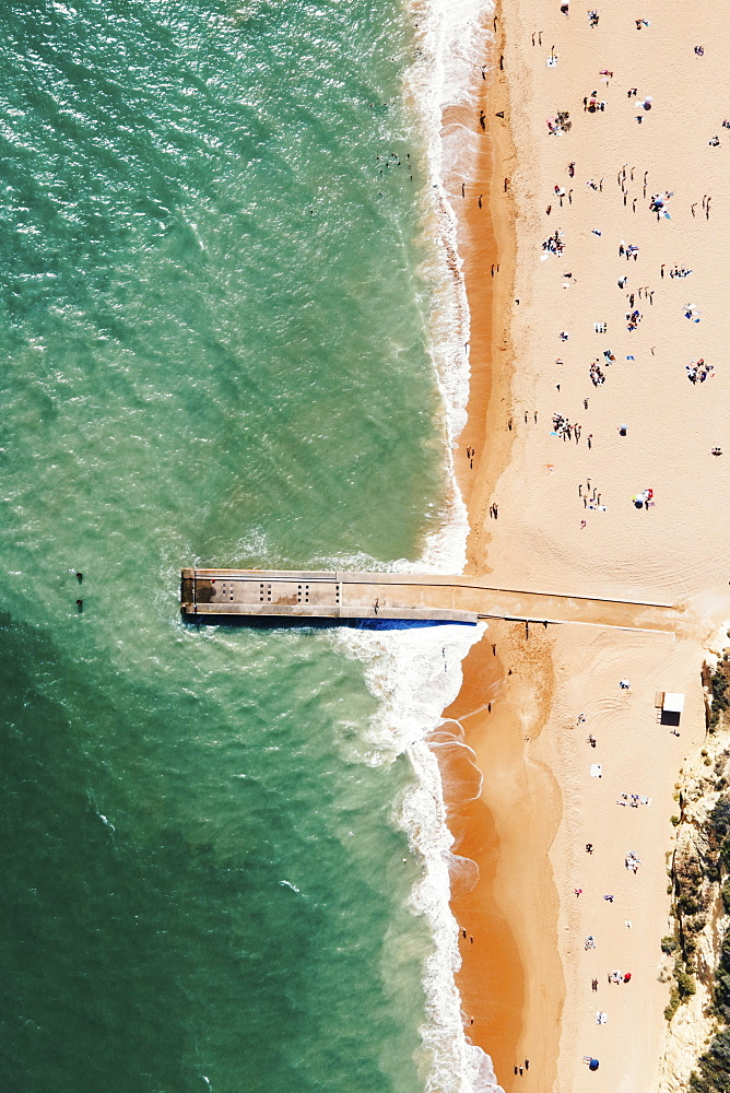 Aerial view of pier and sandy beach, Albufeira, Algarve, Portugal, Europe