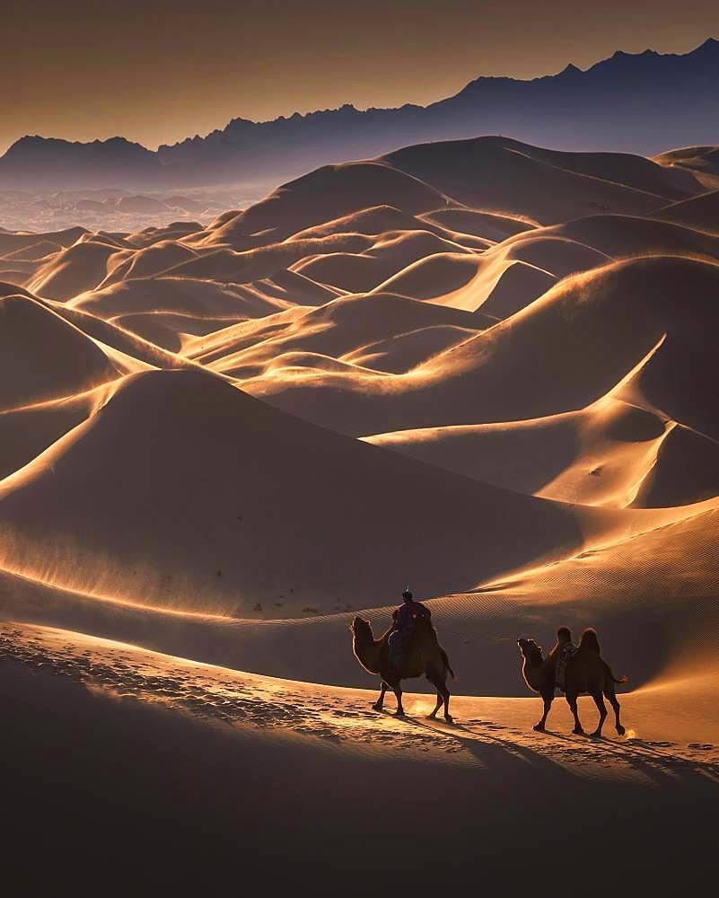 Windy day in the Gobi desert. Umnugobi province, Mongolia, Asia