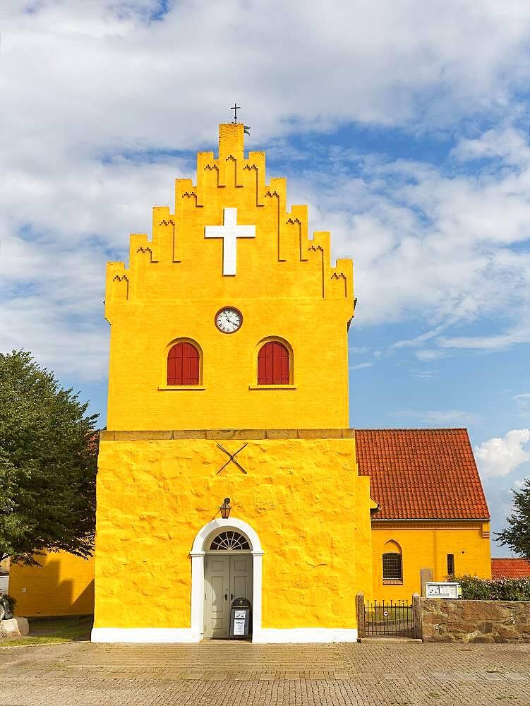 Yellow church in Allinge, white cross in stepped gable, Allinge-Sandvig, Bornholm, Denmark, Europe