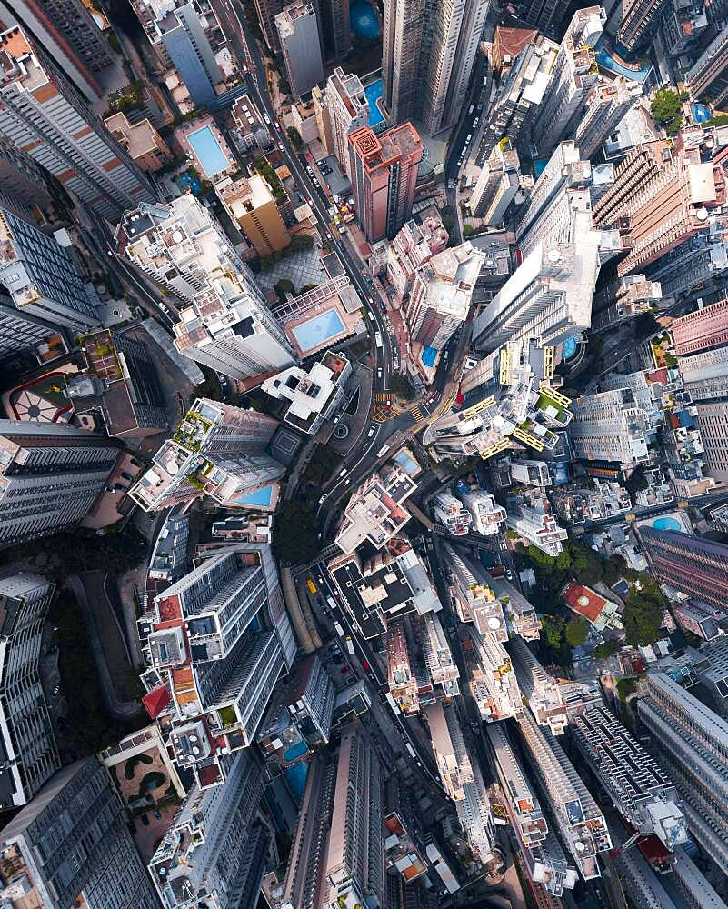 Skyscrapers in Hong Kong from the air, drone recording, China, Asia