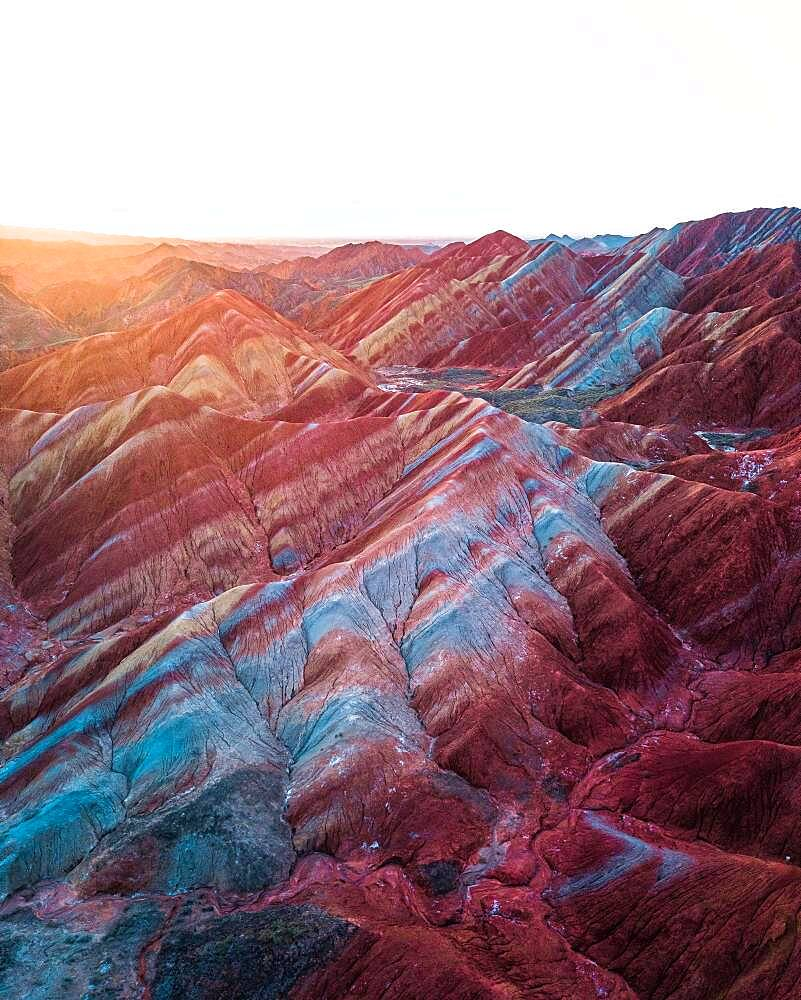 Red sandstone mountains of different minerals, Zhangye Danxia Geopark, China, Asia