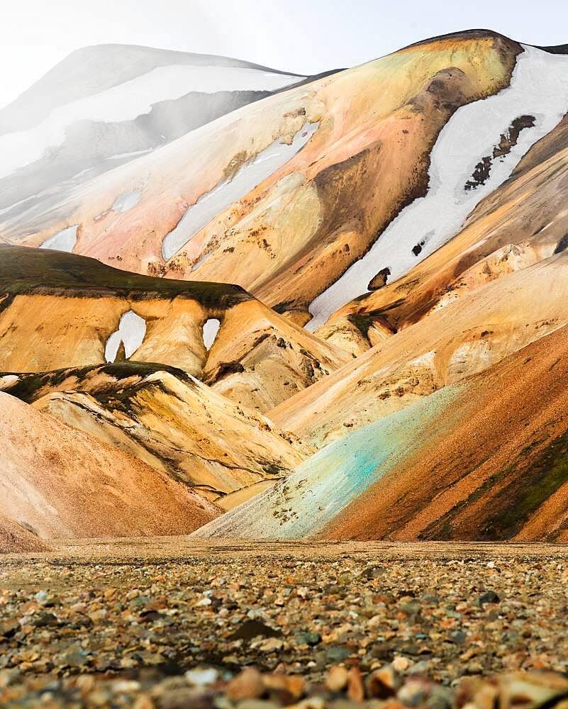 Volcanic barren mountain landscape, Landmannalaugar, Southern Iceland, Iceland, Europe - 832-388955