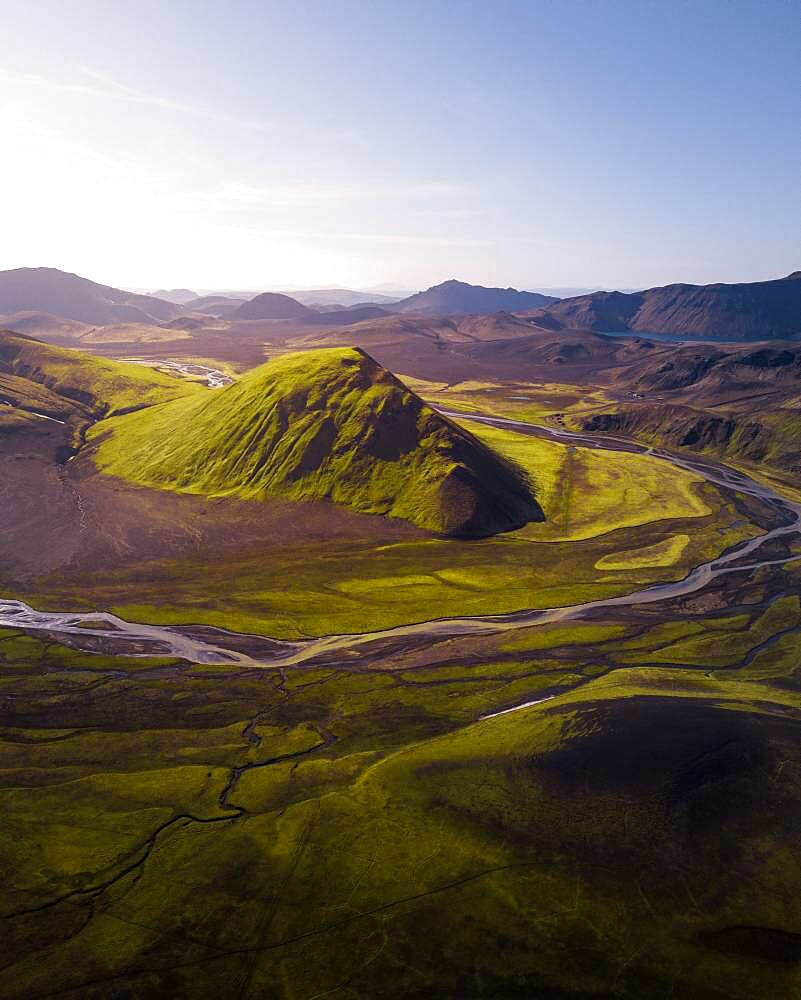 Aerial view, volcanic mountains, Fjallabak Nature Reserve, Southern Iceland, Iceland, Europe - 832-388960