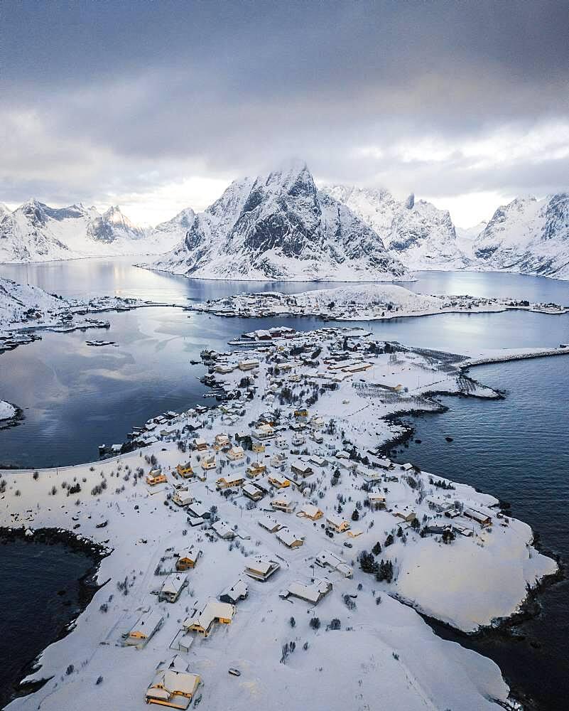 Aerial view, Reinefjord with snowy mountains, view of Reine, Lofoten, Nordland, Norway, Europe - 832-388991