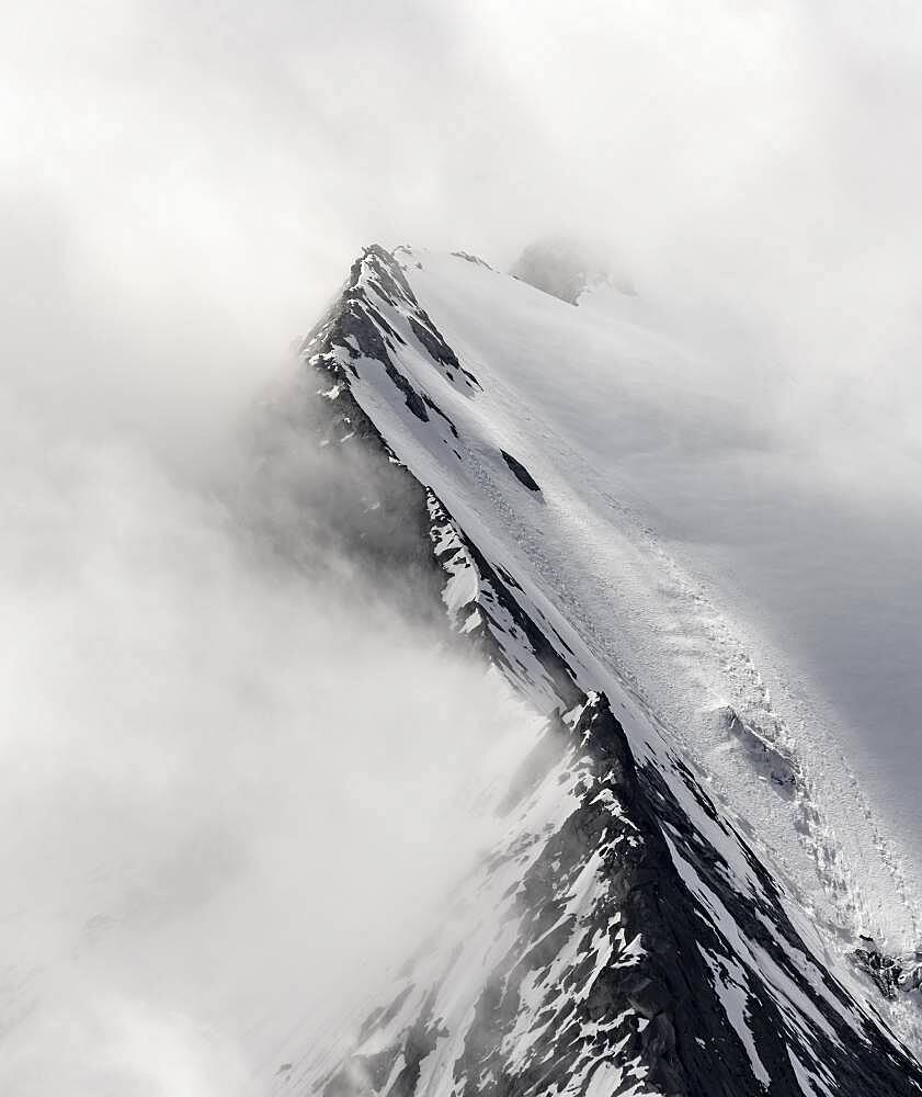 Rugged mountain peaks, degree of the Grosser Moeseler with glacier Furtschaglkees, snow-covered mountains, high alpine landscape in fog, Berliner Hoehenweg, Zillertaler Alps, Zillertal, Tyrol, Austria, Europe - 832-389190