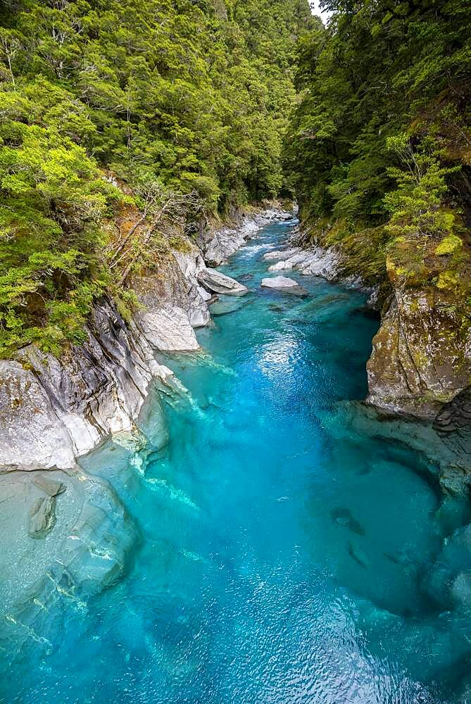 Blue Pools Rock Pool, Makarora River, turquoise crystal clear water, Haast Pass, West Coast, South Island, New Zealand, Oceania - 832-389688