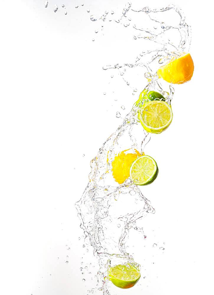 Fresh limes and lemons with water splashes in the air, white background - 832-389714