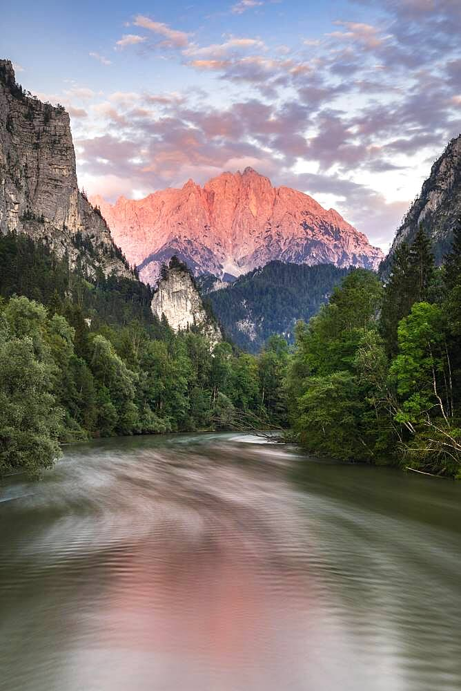 Entrance to the Gesaeuse in the evening, river Enns, Grosser Oedstein in the background, Hochtor, Hochtor Group, Gesaeuse National Park, Styria, Austria, Europe - 832-389781