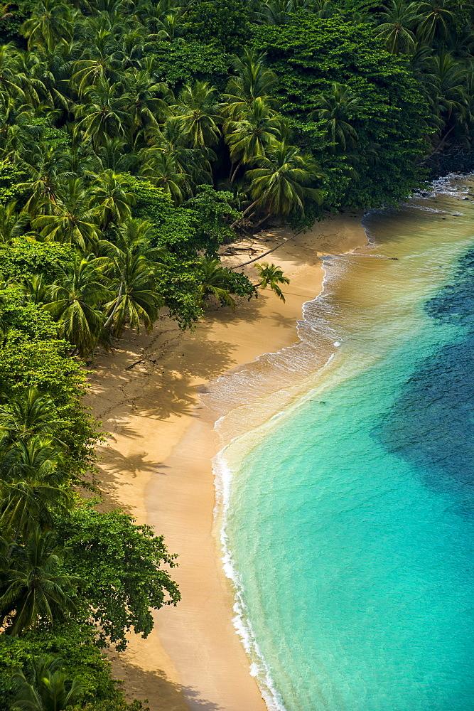 Overlook over banana beach, Unesco biosphere reserve, Principe, Sao Tome and Principe, Atlantic Ocean, Africa - 832-389890