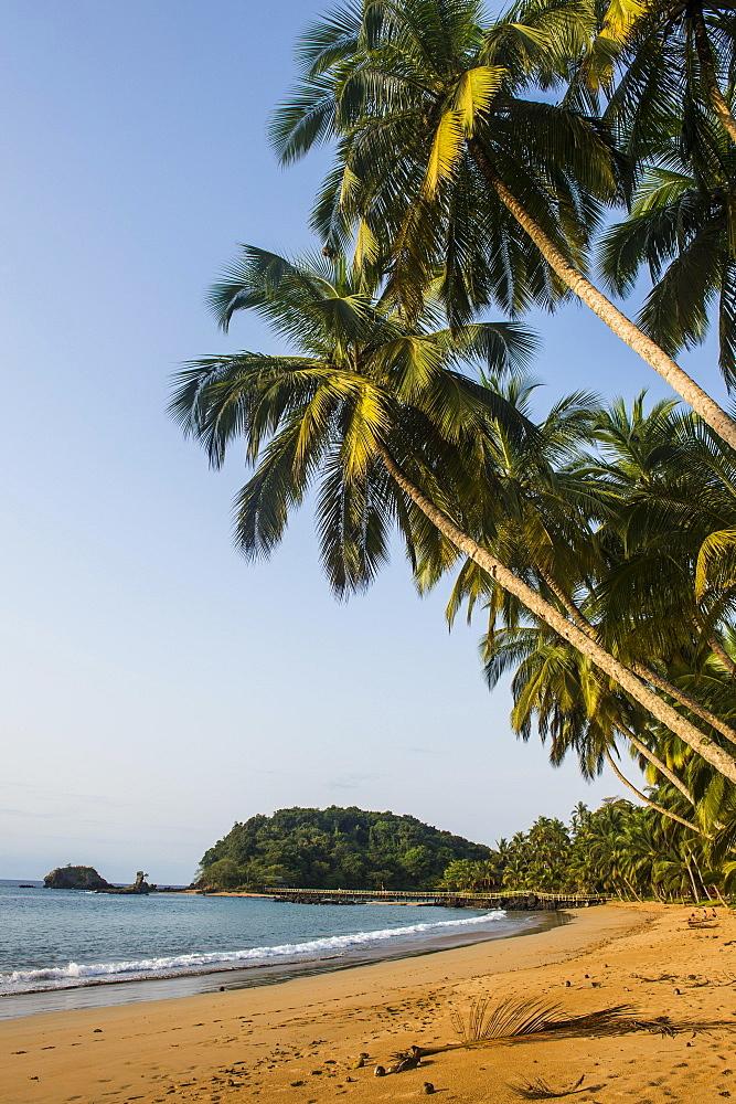 Beautiful beach in the Bom Bom Resort, Unesco Biosphere reserve, Principe, Sao Tome and Principe, Atlantic Ocean, Africa - 832-389897