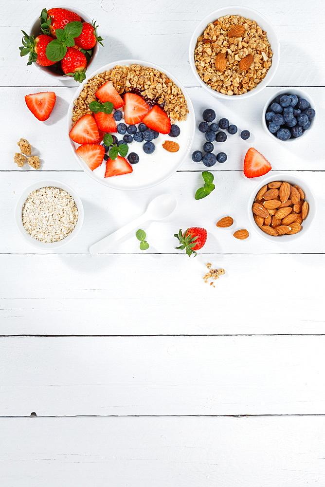 Strawberry yogurt food spoon muesli fruit yogurt breakfast healthy nutrition text free space copyspace, Stuttgart, Germany, Europe - 832-390422