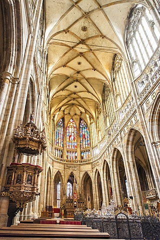 Interior of St. Vitus's Cathedral, distinctive Gothic landmark, Prazsky Hrad Castle district, Prague, Czech Republic, Europe - 843-727
