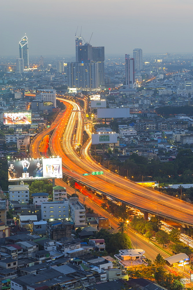 Elevated view of city skyline, Bangkok, Thailand, Southeast Asia, Asia