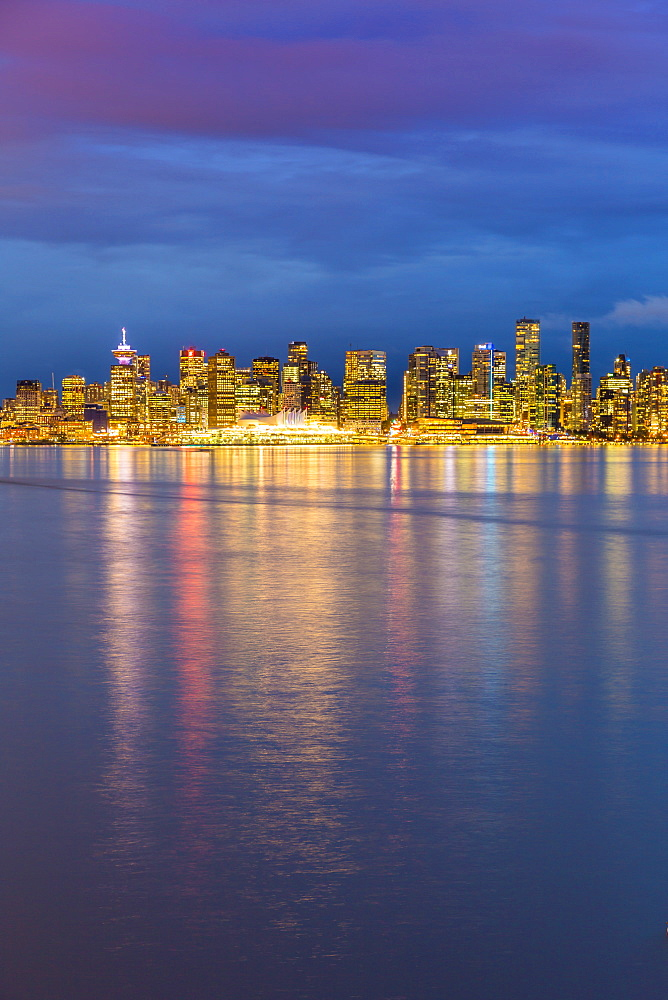 View of Vancouver Downtown from North Vancouver at dusk, Vancouver, British Columbia, Canada, North America