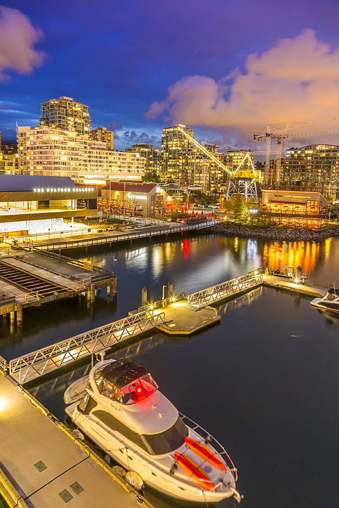 View of Lonsdale Quay in North Vancouver at dusk, British Columbia, Canada, North America - 844-14398