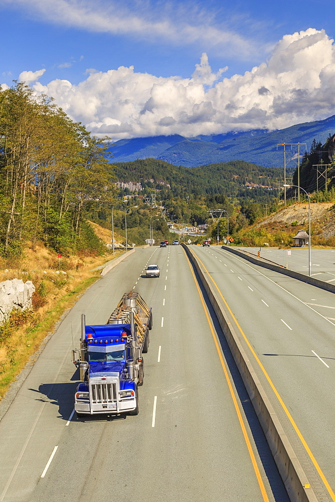 Freighliner on The Sea to Sky Highway near Squamish, British Columbia, Canada, North America - 844-14403