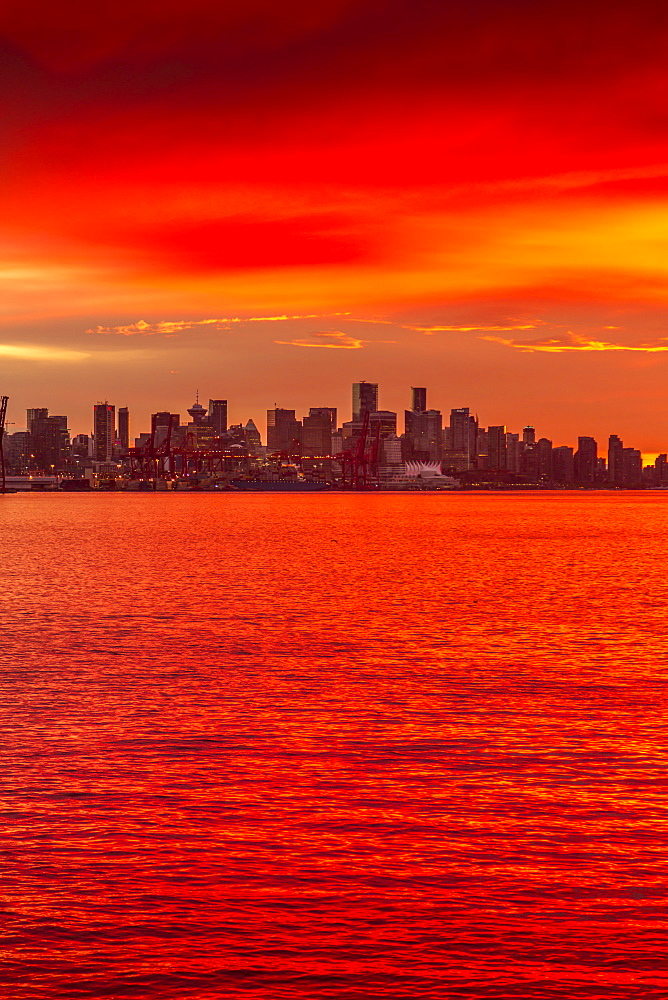 View of Vancouver Skyline from North Vancouver at sunset, British Columbia, Canada, North America - 844-14416