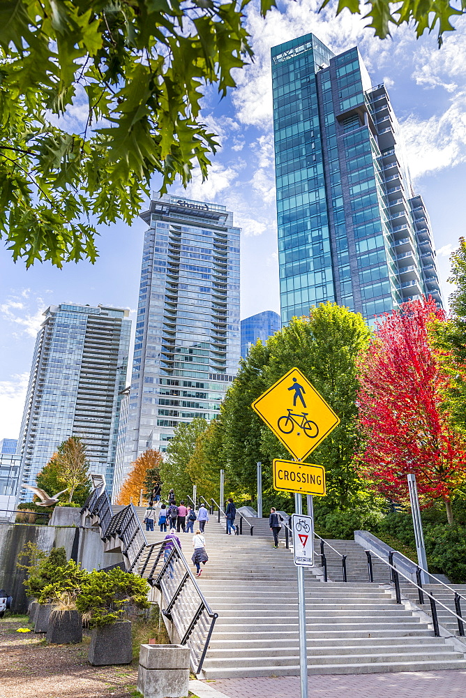 Urban office buildings overlooking Vancouver Harbour near the Convention Centre, Vancouver, British Columbia, Canada, North America - 844-14456