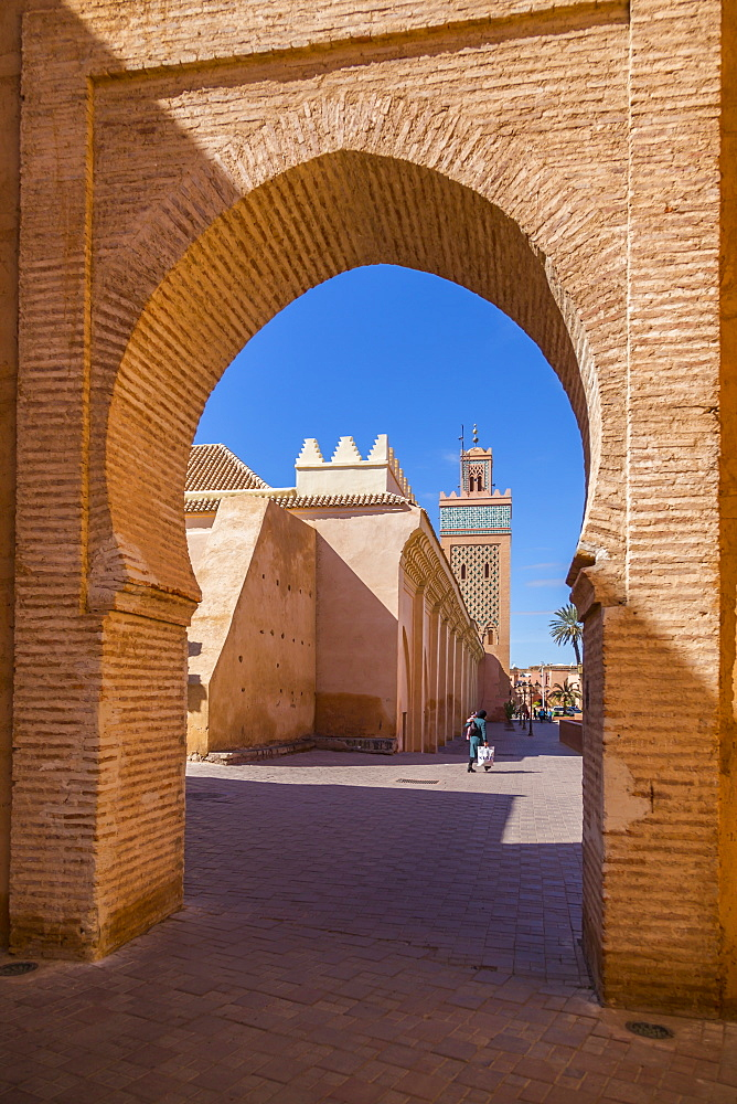 View of Moulay El Yazid Mosque framed by archway, Marrakesh, Morocco, North Africa, Africa