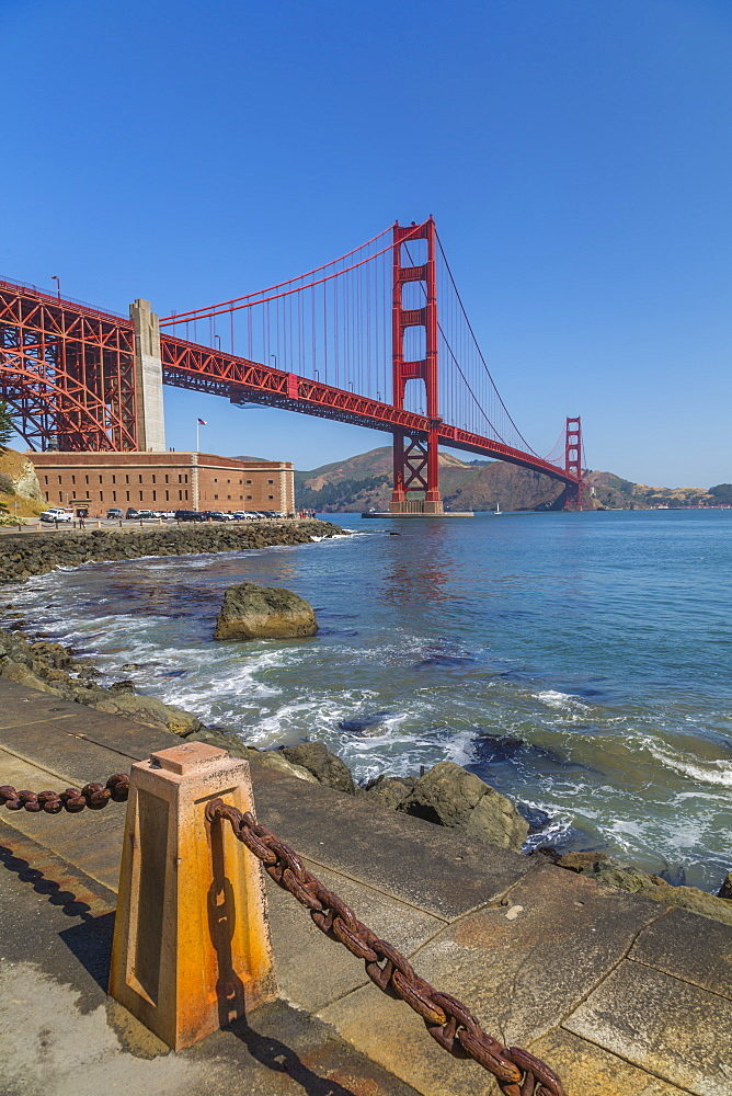 View of Golden Gate Bridge and Fort Point from Marine Drive, San Francisco, California, USA, North America - 844-16974
