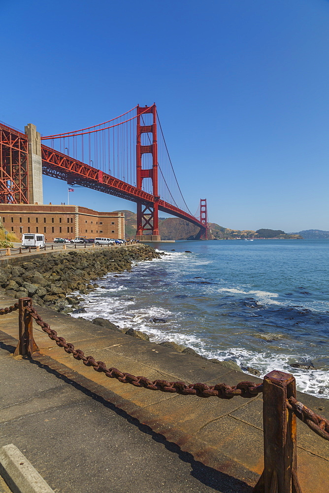 View of Golden Gate Bridge and Fort Point from Marine Drive, San Francisco, California, USA, North America - 844-16976