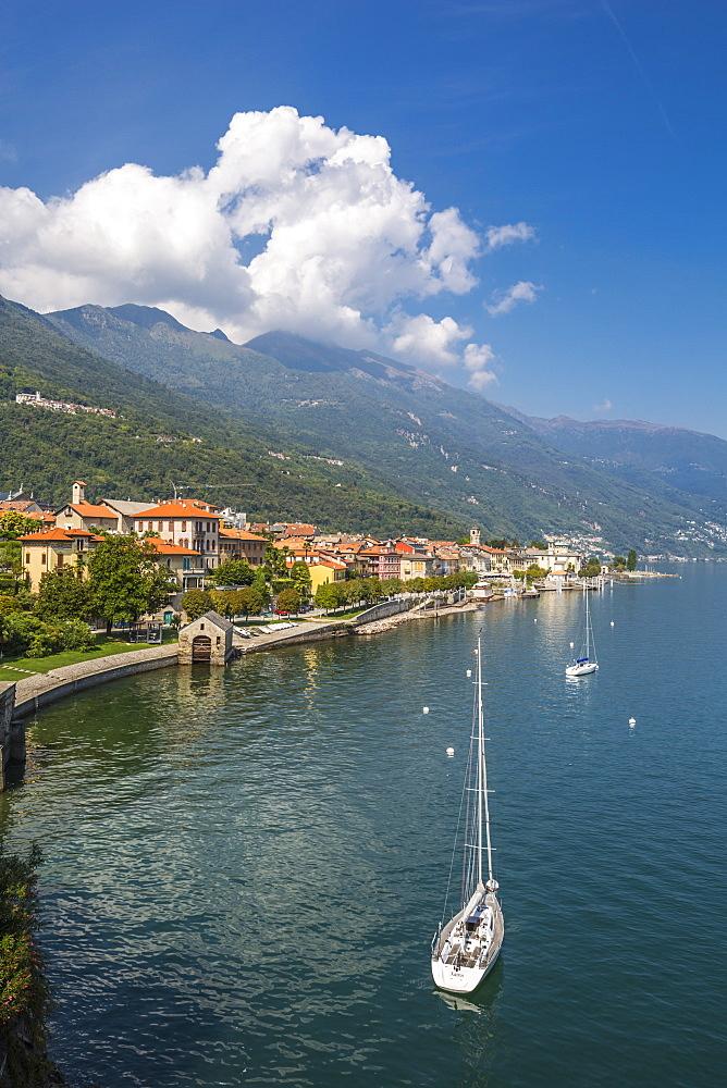 Elevated view of Cannobio and Lake Maggiore, Lake Maggiore, Piedmont, Italy, Europe - 844-17911