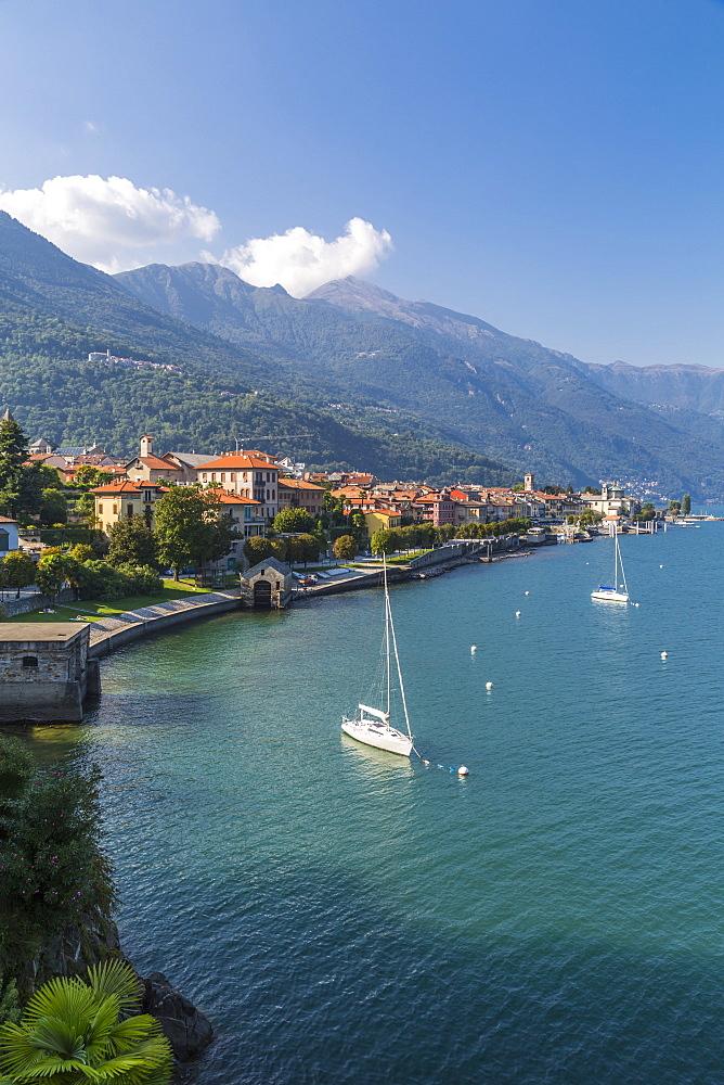 Elevated view of Cannobio and Lake Maggiore, Lake Maggiore, Piedmont, Italy, Europe - 844-17917