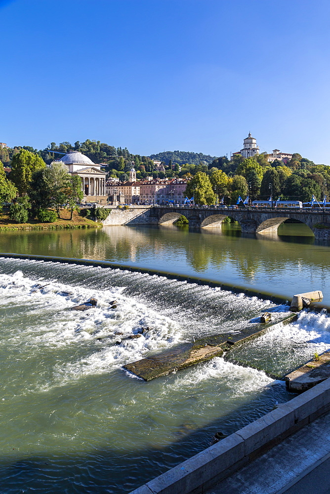 View of River Po and Church Gran Madre Di Dio, Turin, Piedmont, Italy, Europe