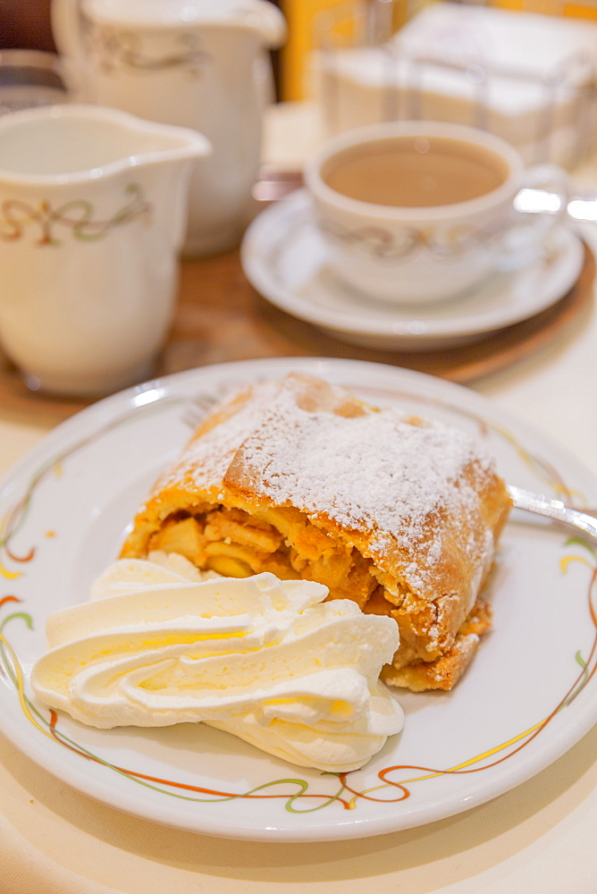 Apple strudel with cream