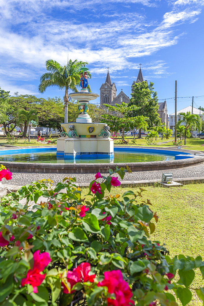 View of Independence Square and Immaculate Conception Catholic Co-Cathedral, Basseterre, St Kitts & Nevis, West Indies, Caribben, Central America