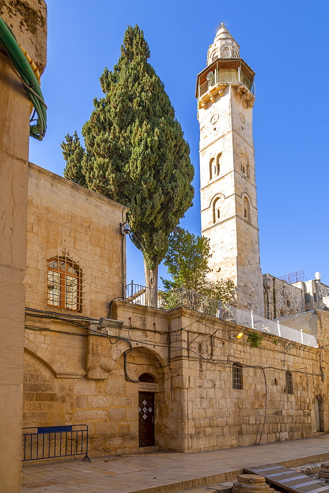 View of Mosque of Omar in Old City, Old City, UNESCO World Heritage Site, Jerusalem, Israel, Middle East - 844-19265