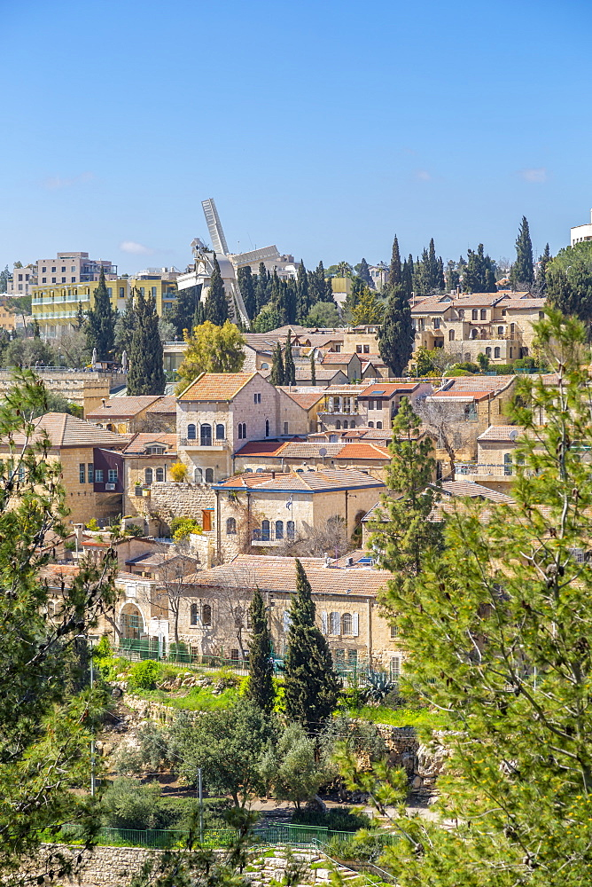 Montefiore Windmill viewed from Old City Wall, Old City, UNESCO World Heritage Site, Jerusalem, Israel, Middle East