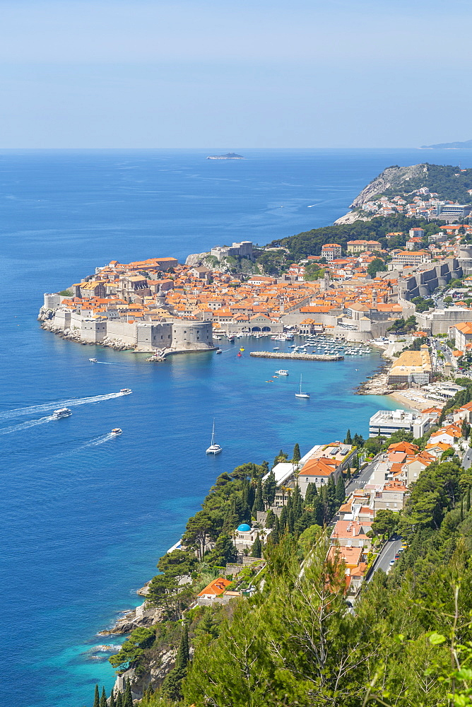 View of Old Walled City of Dubrovnik and Adriatic Sea from elevated position, Dubrovnik Riviera, Croatia, Europe