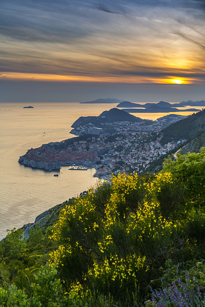 View of the Old Walled City of Dubrovnik at sunset, Dubrovnik Riviera, Croatia, Europe