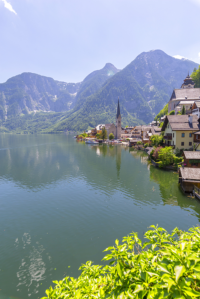 View of Hallstatt village, UNESCO World Heritage Site, Salzkammergut region of the Alps, Salzburg, Austria, Europe