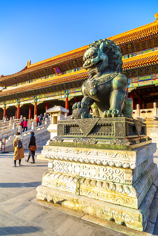 Dragon sculpture in the Forbidden City at sunset, UNESCO World Heritage Site, Xicheng, Beijing, People's Republic of China, Asia - 844-21838