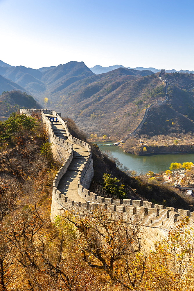 View of Great Wall of China at Huanghua Cheng (Yellow Flower), UNESCO World Heritage Site, Xishulyu, Jiuduhe Zhen, Huairou, People's Republic of China, Asia