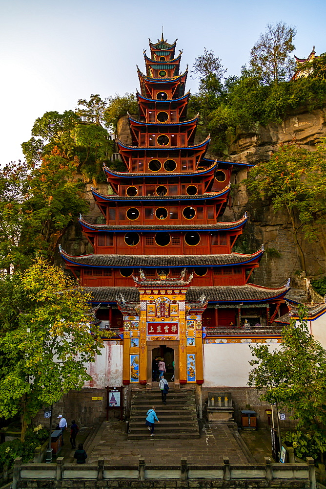 View of Shi Baozhai Pagoda on Yangtze River near Wanzhou, Chongqing, People's Republic of China, Asia - 844-21895