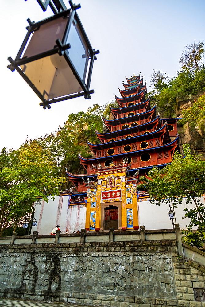 View of Shi Baozhai Pagoda on Yangtze River near Wanzhou, Chongqing, People's Republic of China, Asia - 844-21897