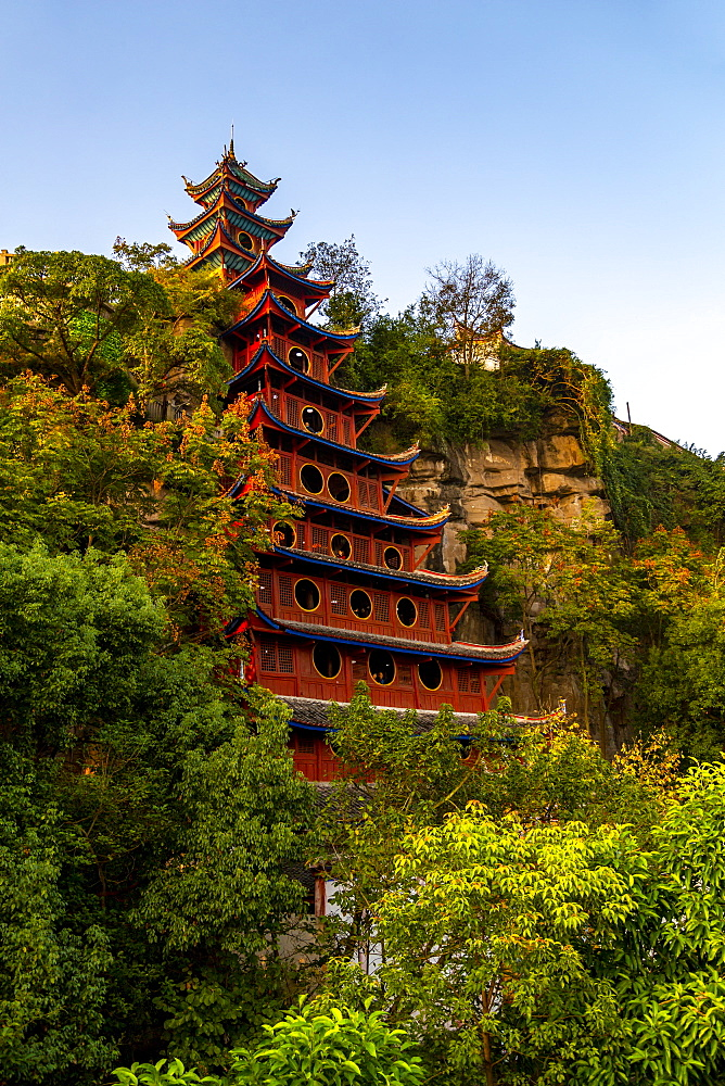 View of Shi Baozhai Pagoda on Yangtze River near Wanzhou, Chongqing, People's Republic of China, Asia