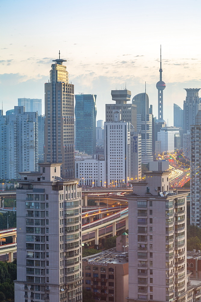 View of Shanghai skyline at sunrise, Luwan, Shanghai, China