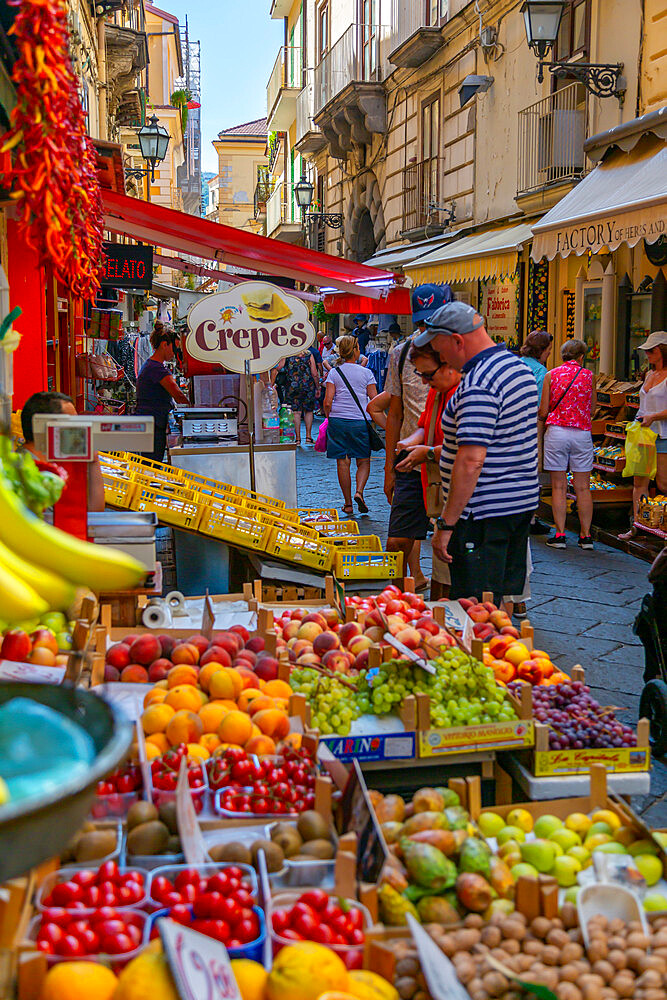 View of fruit stall on busy Via S Cesario, Sorrento, Campania, Italy, Europe