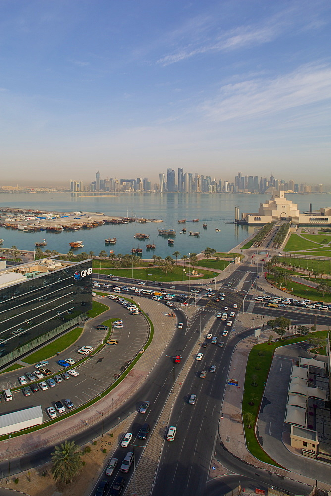 Museum of Islamic Art and West Bay Central Financial District from East Bay District, Doha, Qatar, Middle East