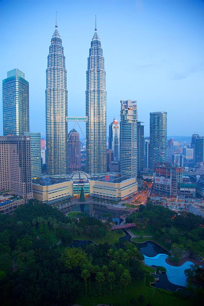 Petronas Towers at daybreak, Kuala Lumpur, Malaysia, Southeast Asia, Asia