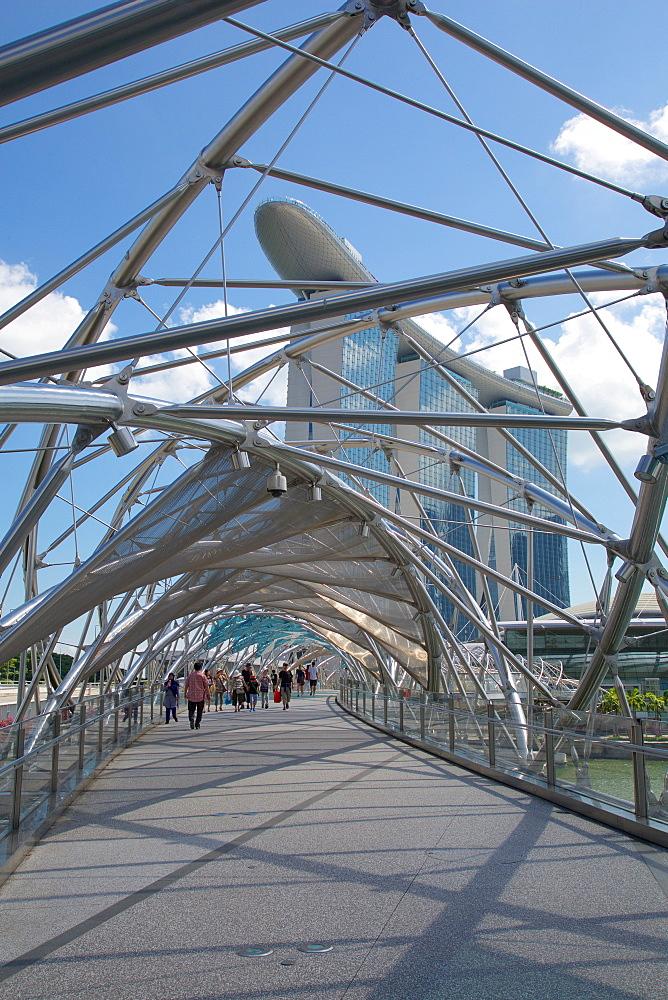Marina Bay, Helix Bridge and Marina Bay Sands Hotel, Singapore, Southeast Asia